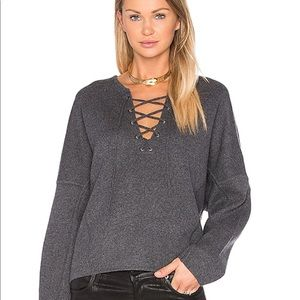 Vince Lace-Up Merino Wool & Cashmere Pullover